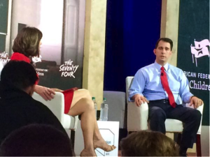 Gov. Scott Walker discusses education with Campbell Brown at the New Hampshire Education Summit.