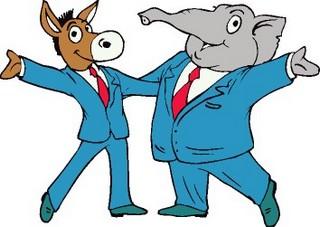 donkey-elephantcelebratingtogether