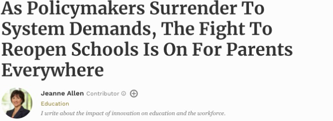 As Policymakers Surrender To System Demands, The Fight To Reopen Schools Is On For Parents Everywhere